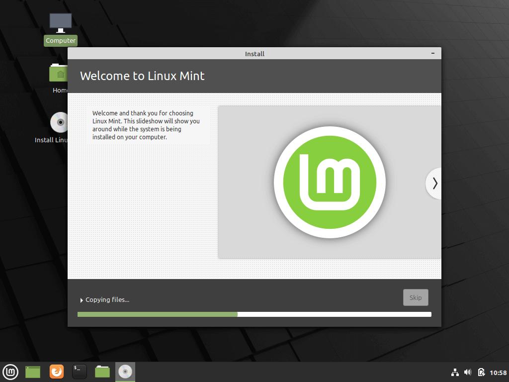 Proceso de instalación de Linux Mint