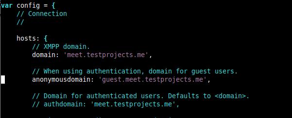 Activar el dominio para usuarios invitados de Jitsi