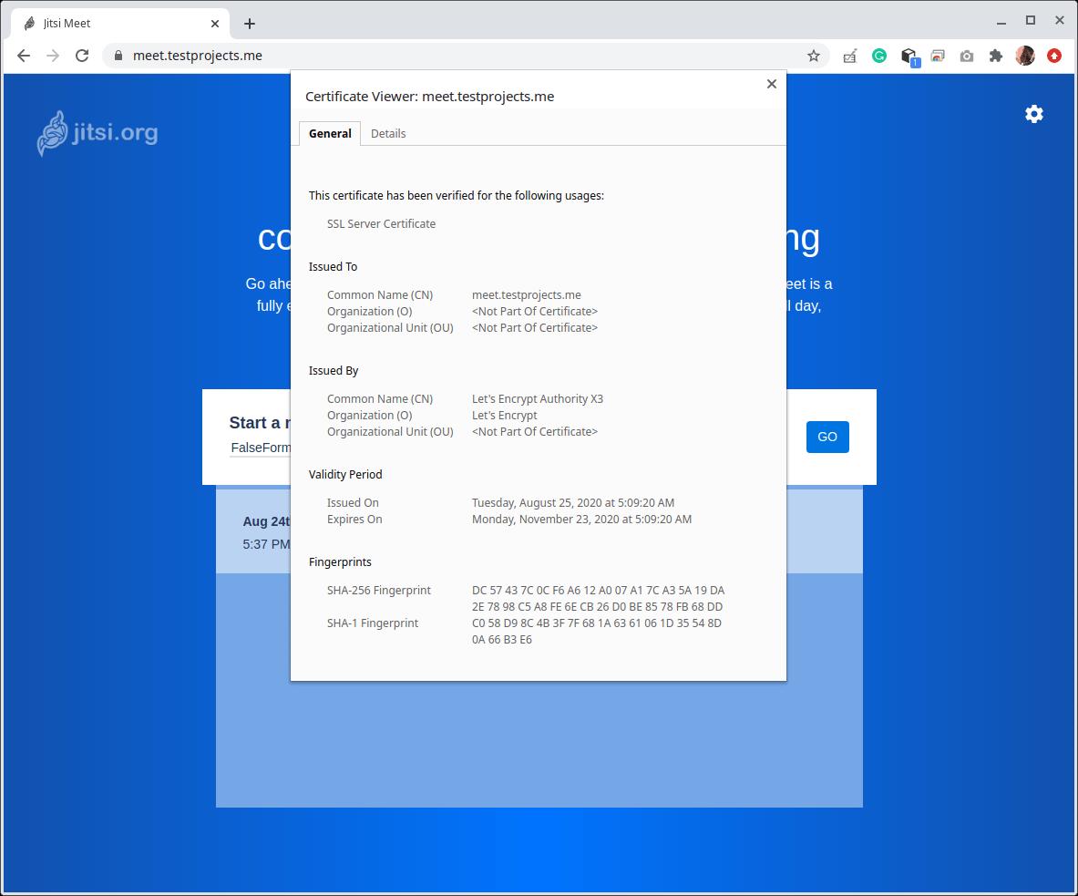 Verifique HTTPS en Jitsi Meet