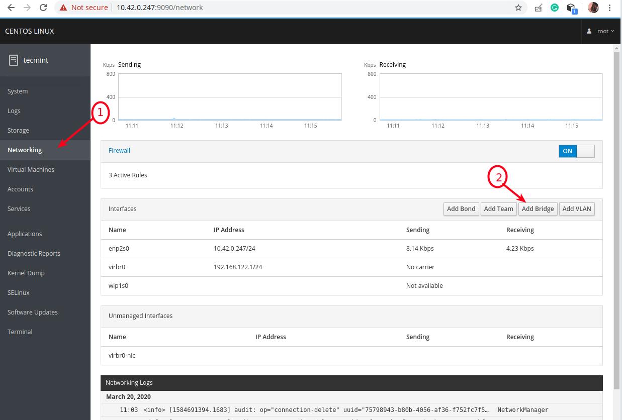 Seleccione Red en la consola web de la cabina
