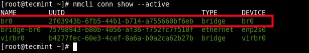 Lista de conexión de red activa