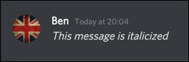 Un mensaje en cursiva en Discord