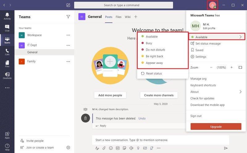 Los equipos de Microsoft cambian de estado