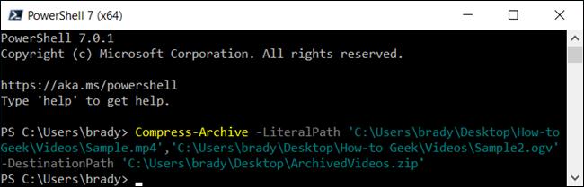 Comprima algunos archivos en PowerShell.