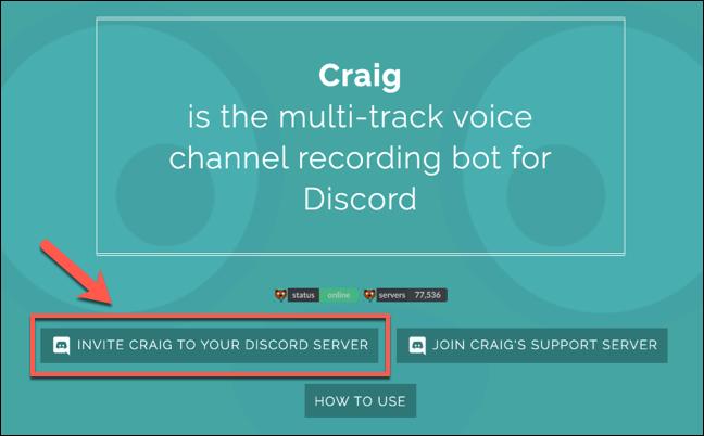 Presione Craig para invitar a su Discord Server para comenzar el proceso de unión