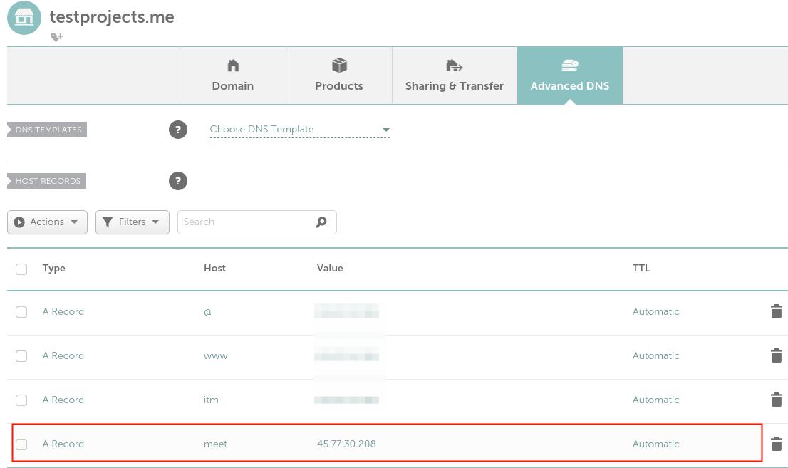 Cree una entrada para el dominio en DNS