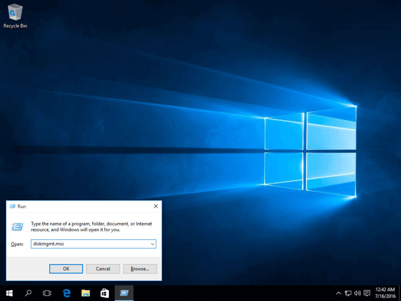 Abra la administración de discos de Windows