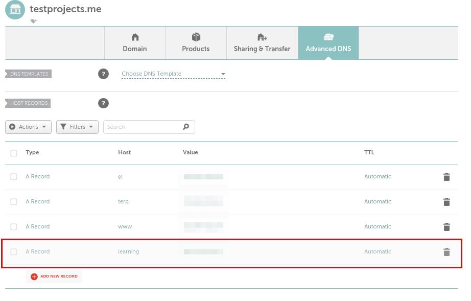 Agregar un registro para el dominio de Moodle